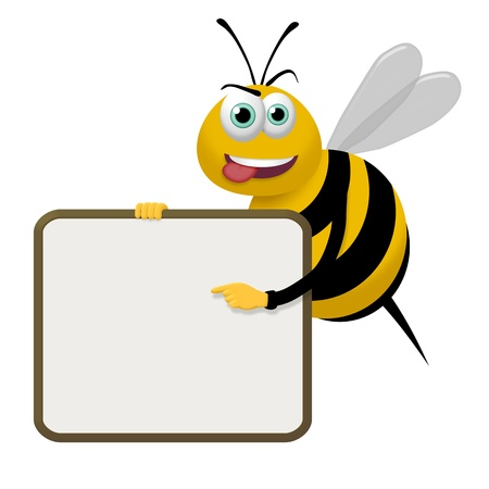 bumble: Illustration of a bee pointing to a sign it is holding Stock Photo