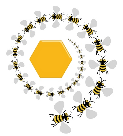 swarm: Illustration of lots of bees spiralling into the middle of a honeycomb