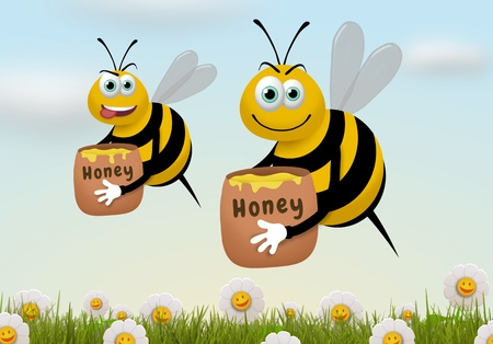 Illustration of two bees carrying honey pots while flying over a field of flowers illustration