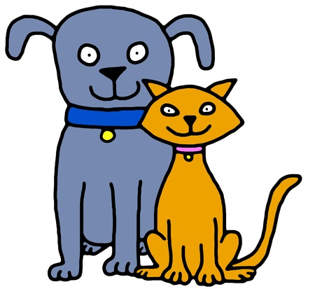 cuddly: Illustration of a blue dog and orange cat sitting together Stock Photo