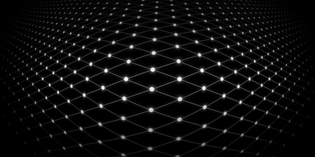 swollen: Abstract background of a warped grid with glowing white dots