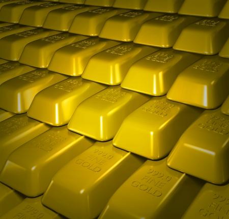 gold bullion: Illustration of lots of Gold bullion bars stacked Stock Photo
