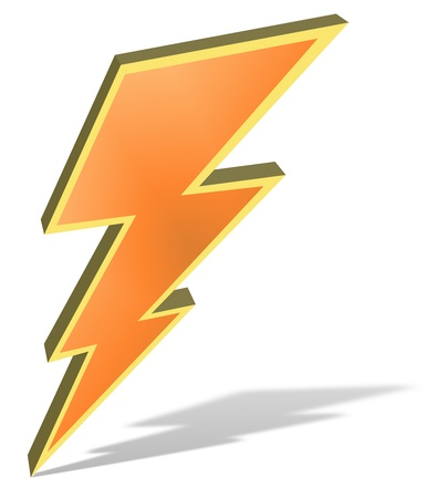Illustration of a bolt of lightning isolated with drop shadow illustration