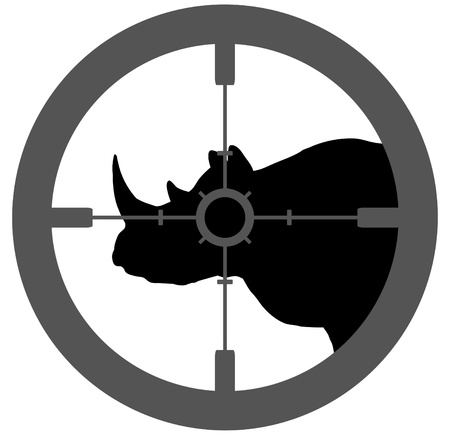 gun sight: Illustration of a silhouette Rhino with a gun  sight aiming at its head Stock Photo