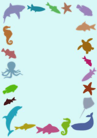 Illustrated frame made of colourful marine animals photo
