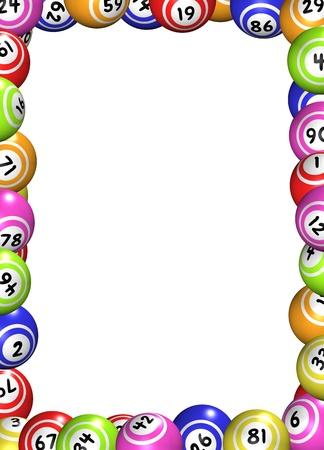 loteria: Ilustración de un marco hecho de las bolas del bingo