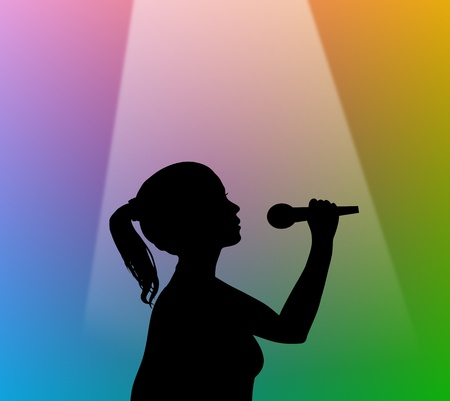 karaoke singer: Illustration of a silhouette girl holding a microphone under a spotlight