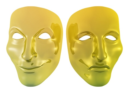scowl: Illustration of a two golden masks Stock Photo