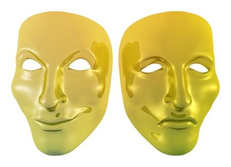 Ilustracja z dwóch masek złotych photo