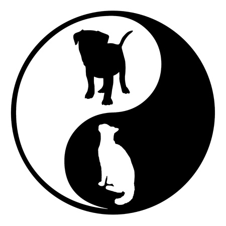 Illustration of a Yin Yang symbol with a silhouette cat and dog illustration