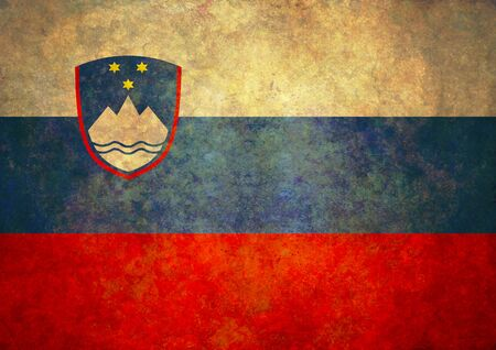 slovenia: Illustrated grunge flag of Slovenia