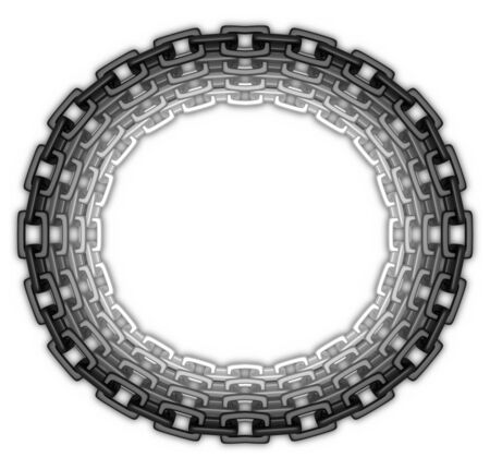 Illustration of a oval frame made of chain links