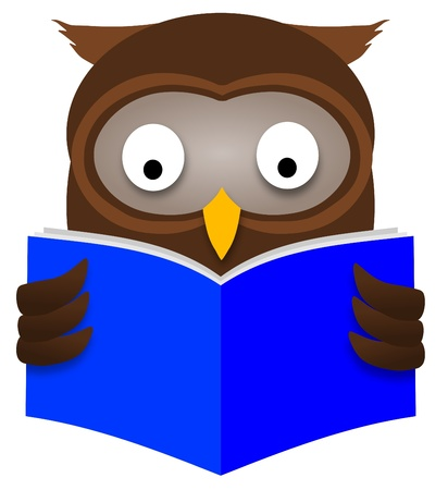 wise old owl: Illustration of an Owl reading a book Stock Photo