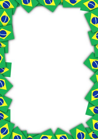 patriotic border: Illustrated frame made of Brazil flags