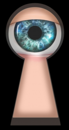 cartoon safety: Illustration of an eye looking through a keyhole Stock Photo