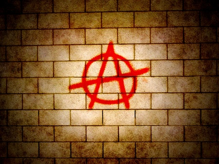 vandal: Illustration of an Anarchy symbol on a wall Stock Photo