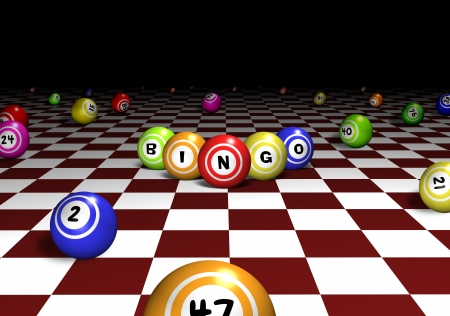 Illustration of bingo balls over a red and white chequered background Фото со стока