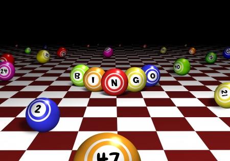 bingo: Ilustración de las bolas de bingo en un fondo a cuadros rojo y blanco