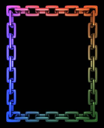 Illustration of a colourful frame made of chain links