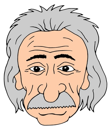 einstein: Isolated cartoon head of Albert Einstein