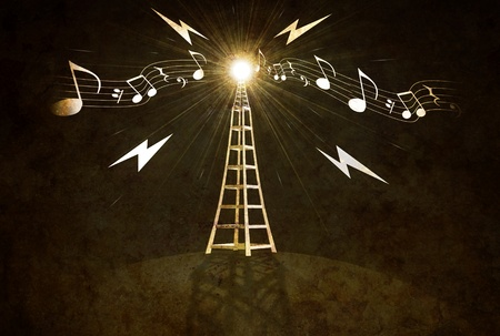 musical score: vintage looking Illustration of a broadcast tower with music score Stock Photo
