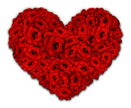 Illustrated Heart shape made of red flowers photo