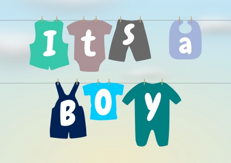 Illustration of a washing line with baby clothes and words saying  It s a Boy  illustration