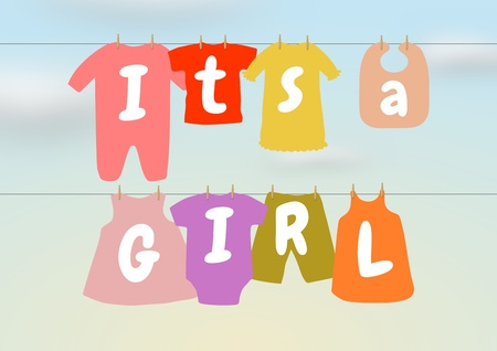 it s a girl: Illustration of a washing line with baby clothes and words saying  It s a Girl
