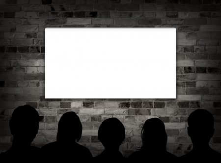 movie screen: Illustration of people watching a blank screen Stock Photo