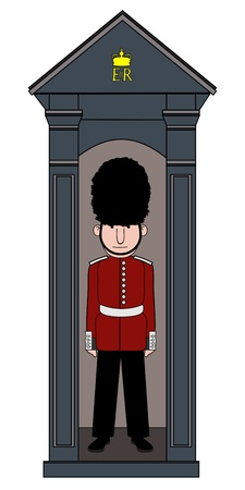 bearskin hat: Illustration of a royal guard standing in a guards box