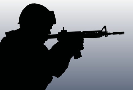 Illustration of a silhouette solider holding a rifle illustration