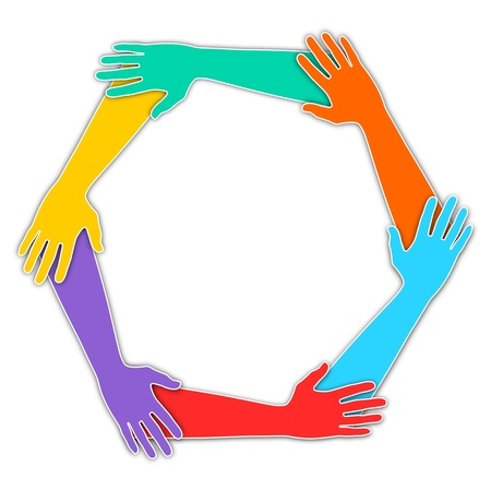 joined hands: Illustration of six hands joined together