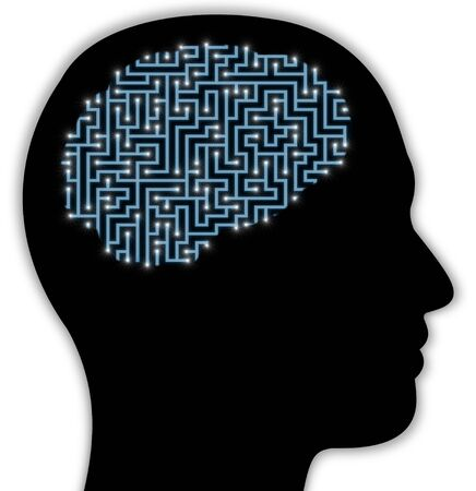 maze puzzle: Illustrated side view of a persons head with a brain made of a maze with glowing neurons Stock Photo