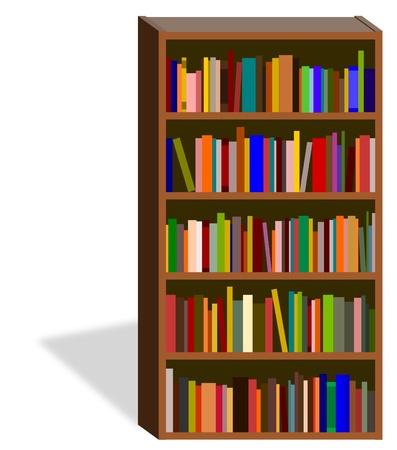 Illustration of an isolated bookshelf illustration