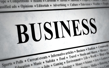 newspaper headline: Illustration of a newspaper with the headline Business Stock Photo