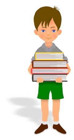 concentrating: Illustration of a child carrying a pile of books Stock Photo