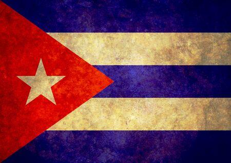 the cuban: Illustration of a worn Cuban Flag