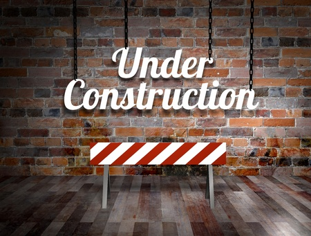 under construction road sign: Illustration of a under construction sign hanging from chains Stock Photo