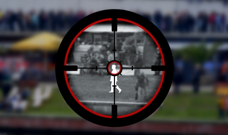 assassinate: Illustration of a person being targeted by a sniper
