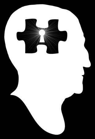 Illustration of a silhouette man with a puzzle piece and keyhole inside his head illustration