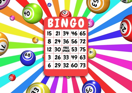Illustration of bingo balls and card illustration