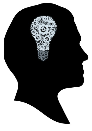 concentration gear: Illustration of a person with a cog light bulb inside their head Stock Photo