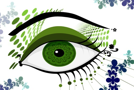 Illustration of an abstract green eye