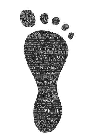 emission: Illustrated footprint with many text products and other carbon related subjects
