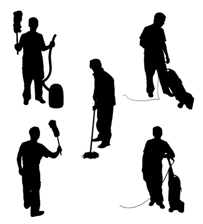 sweeping: Illustration of five silhouette people cleaning Stock Photo