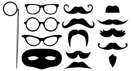 comedic: Illustration of lots of face disguises Stock Photo