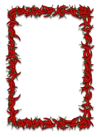 red chilli: illustration of lots of chilli peppers forming a frame