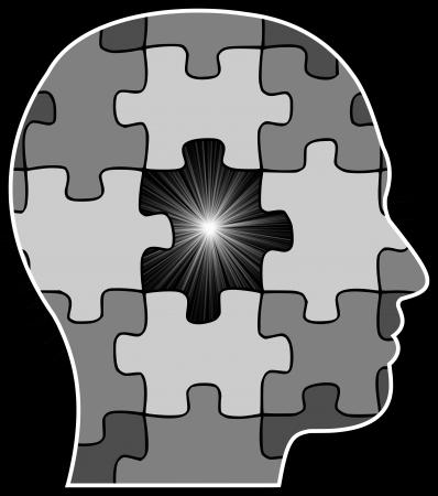 cerebro blanco y negro: Ilustraci�n de una cabeza de una persona con una pieza del rompecabezas que falta