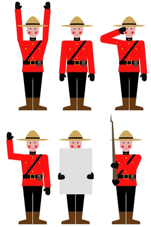 mountie: Illustration of a Mountie in different poses Stock Photo