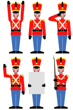 soldier with rifle: Illustration of a toy soldier in different poses